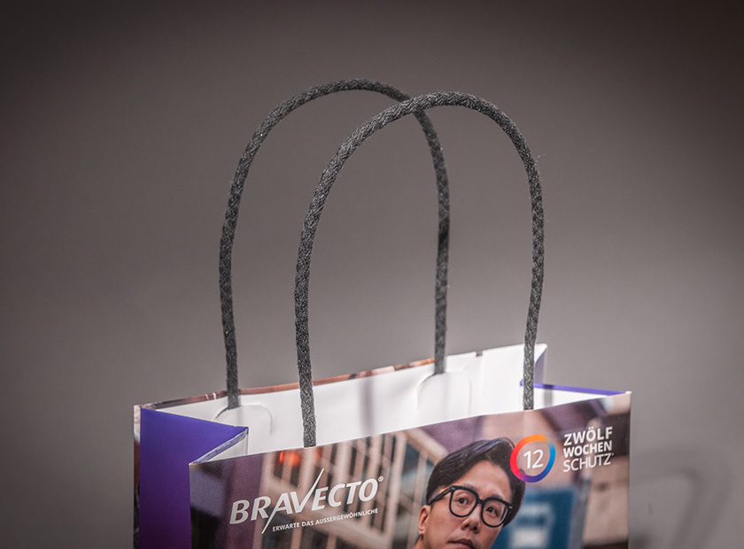 Printed paper bag and paper cords with cotton