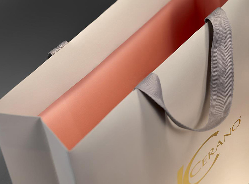 Printed paper bag with adhered ribbons without knots