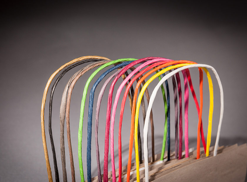 Twisted paper cords in all colours for printed paper carrier bags