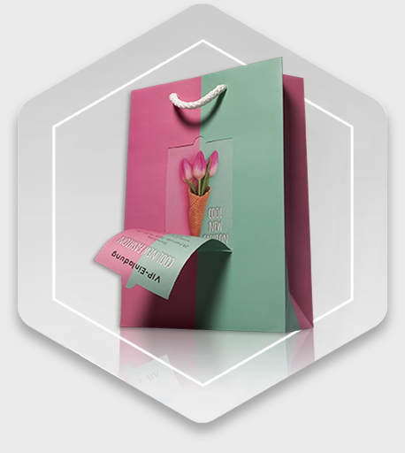 Printed paper carrier bag with detachable coupon