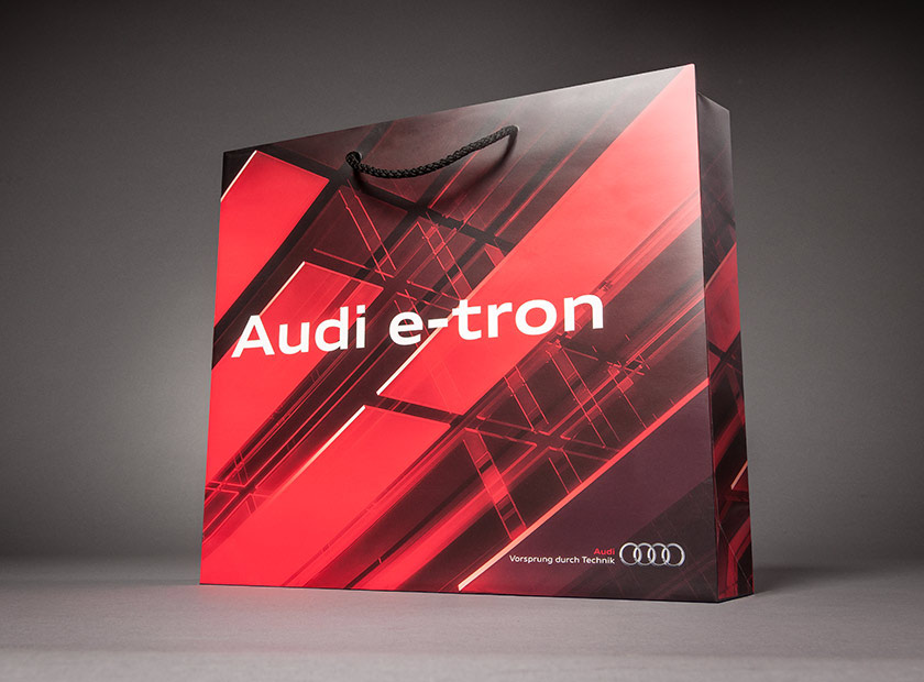 Printed paper bag with cord, Audi e-tron logo