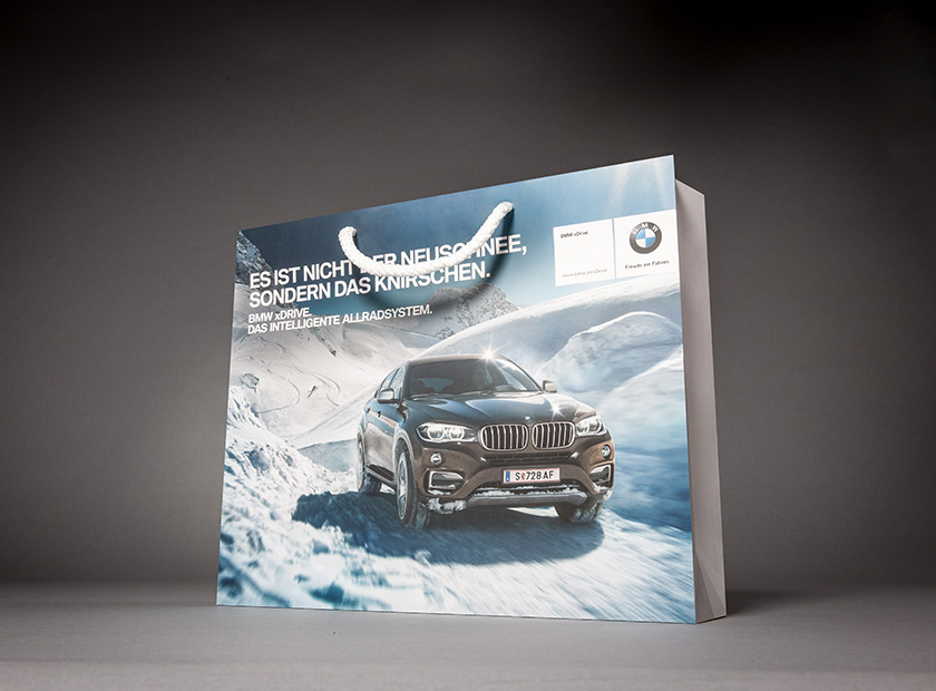 High-quality paper bag with cord, BMW logo