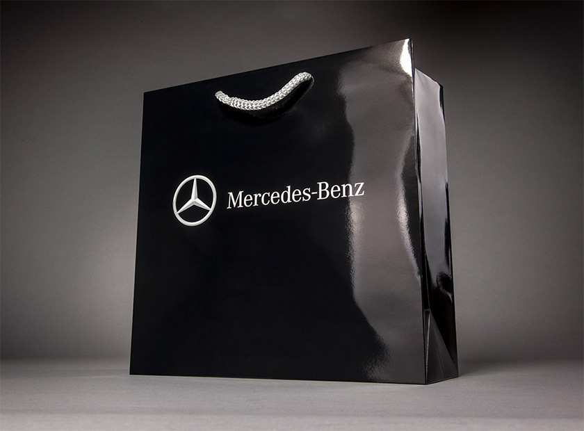 High-quality paper bag with cord, Mercedes logo