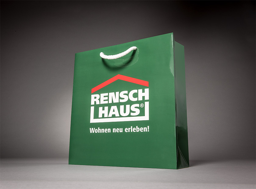 High-quality paper bag with cord, Rensch Haus logo