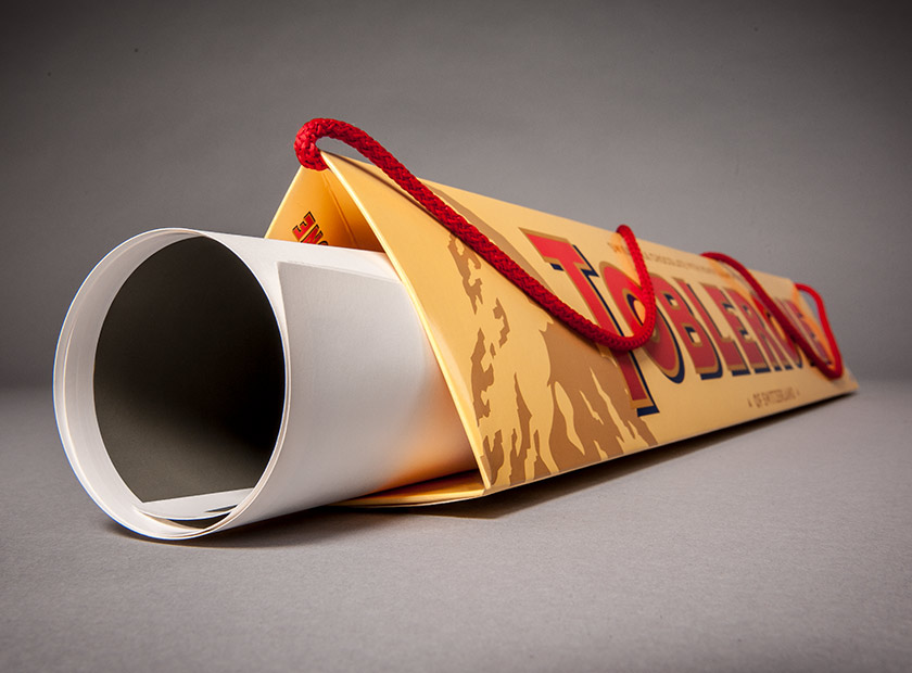 Paper bag with printing for posters and long goods, Toblerone logo
