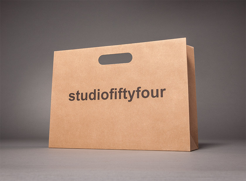 Printed paper bag with handle, studiofiftyfour motif