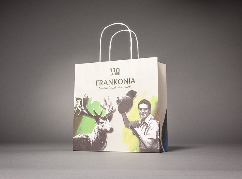 Printed paper bag with paper cord, Frankonia