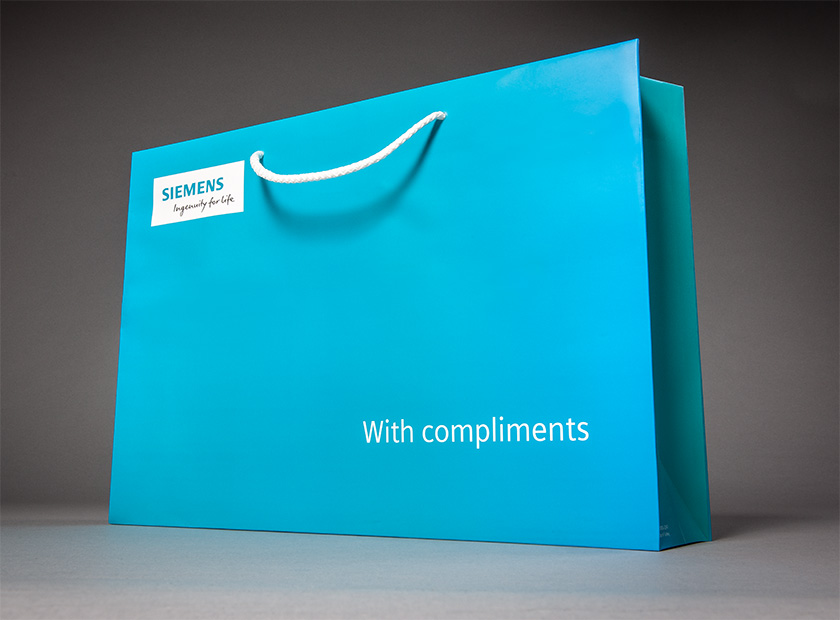 XXL printed paper carrier bag, Siemens motif