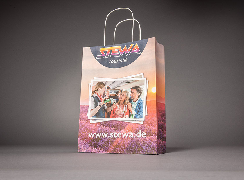 Printed paper bag with paper cord, STEWA Touristik