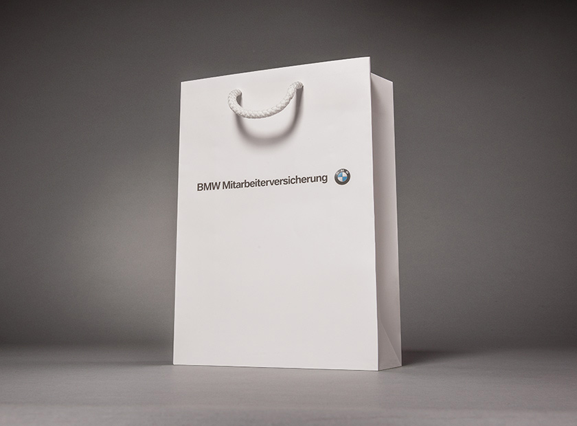 Printed paper bag with cord, BMW logo