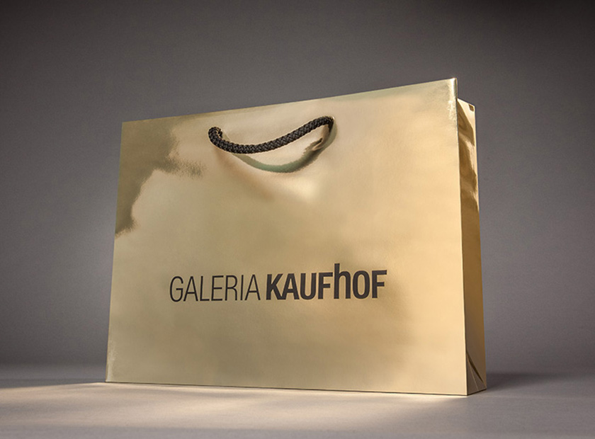 Printed paper bag with cord, Galeria Kaufhof logo