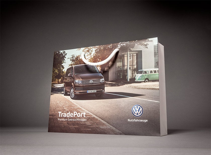 Printed paper bag with cord, VW Commercial Vehicles logo