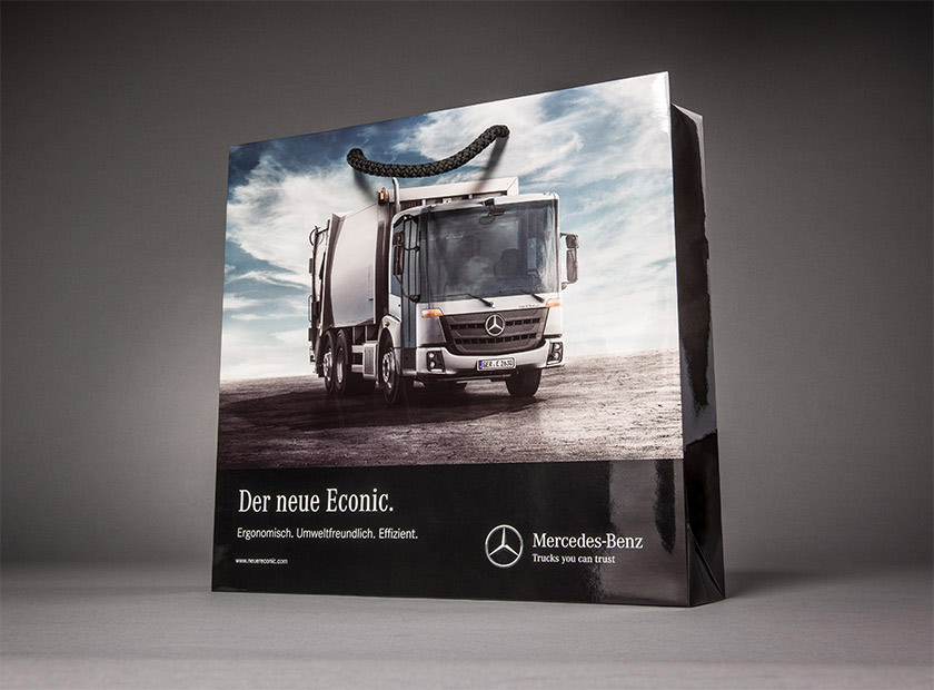 High-quality paper bag with cord, Mercedes Truck logo