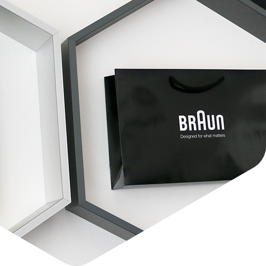Showroom paper carrier bags by application